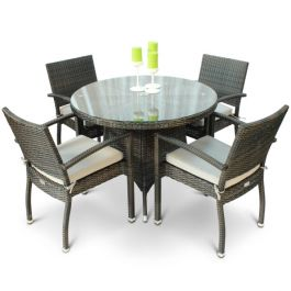 Rattan Diego Dining Set with Glass Top
