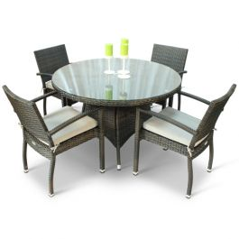 Rattan Juliana Dining Set with Glass Top