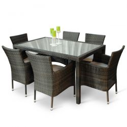 Newbury Rattan Rectangular Dining Set with Glass Top