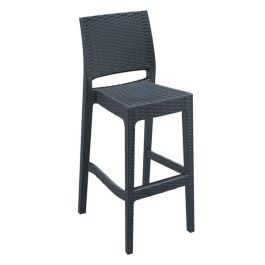 Madrid Rattan Bar Stool Dark Grey