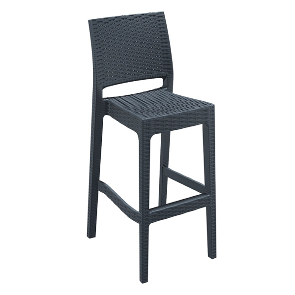 Madrid Rattan Bar Stool Dark Grey 163 84 99