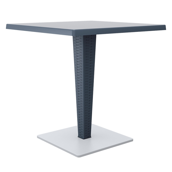 Madrid Rattan Pedastal Table Dark Grey 70