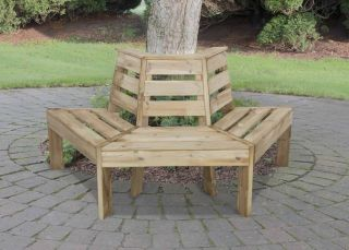 1.6m Wooden Timber Tree Seat FSC by Forest Garden