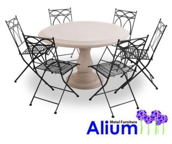 alium pesaro stone table 6 seater round garden furniture set