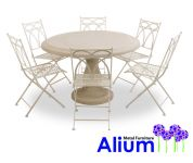 Alium� Pesaro Stone Table 6 Seater Round Garden Furniture Set