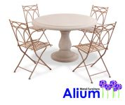 Alium� Pesaro Stone Table 4 Seater Round Garden Furniture Set