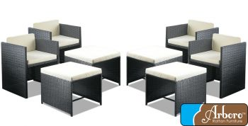 Rattan Weave Set of 4 Armchairs and 4 Stools in Black by Arboro™