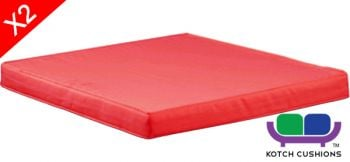 Set of 2 L50cm Cushions in Red by Kotch - 6cm Thick