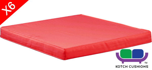 Set of 6 L50cm Cushions in Red by Kotch - 6cm Thick