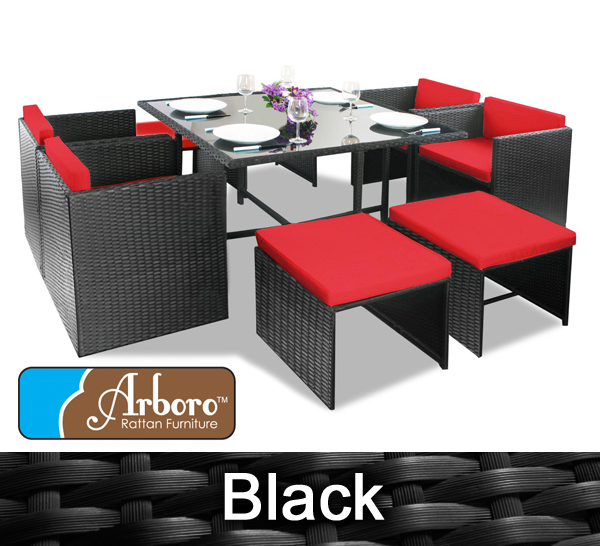 8 Seater Rattan Weave Cube Set Arboro Quot Beaumont Quot Black With Red Cushions 163 349 99