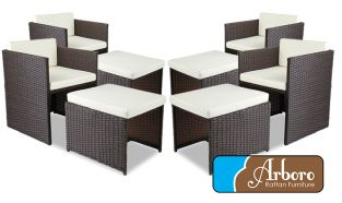 Rattan Weave Set of 4 Armchairs and 4 Stools in Brown by Arboro™