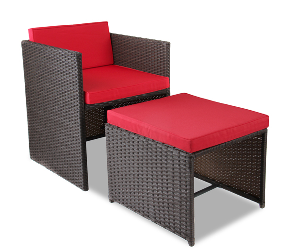8 Seater Rattan Weave Cube Set Arboro Quot Beaumont Quot Brown With Red Cushions 163 279 99