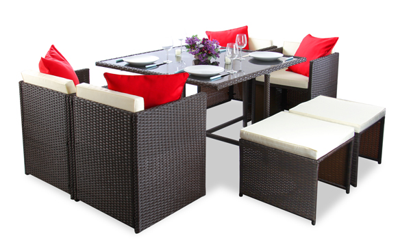 8 Seater Rattan Weave Cube Set Arboro Quot Beaumont Quot Brown With Cream Cushions 163 269 99