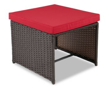 "8 Seater Rattan Weave Cube Set - Arboro™ ""Beaumont"" (Brown with Red Cushions)"