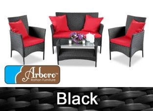 "4 Seater Rattan Weave Sofa Set - Arboro™ ""Langtry"" (Black with Red Cushions)"