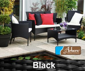 "4 Seater Rattan Weave Sofa Set - Arboro™ ""Langtry"" (Black with Cream Cushions)"