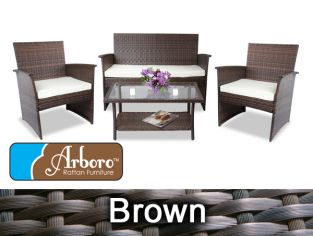 "4 Seater Rattan Weave Sofa Set - Arboro™ ""Frampton"" (Brown with Cream Cushions)"