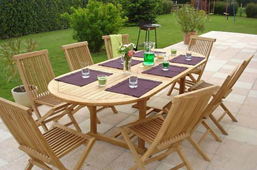 Grade A Teak 8 Seater Oval Dining Set with Extendable Table by Liz Frances™
