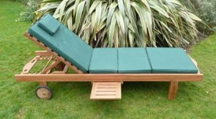 Teak Sun Lounger & Cushion with leg lift and drinks tray  by Liz Frances™