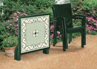SCAB Four Seater Ribalto Square Resin Dining Set in Forest Green with Iron Deco