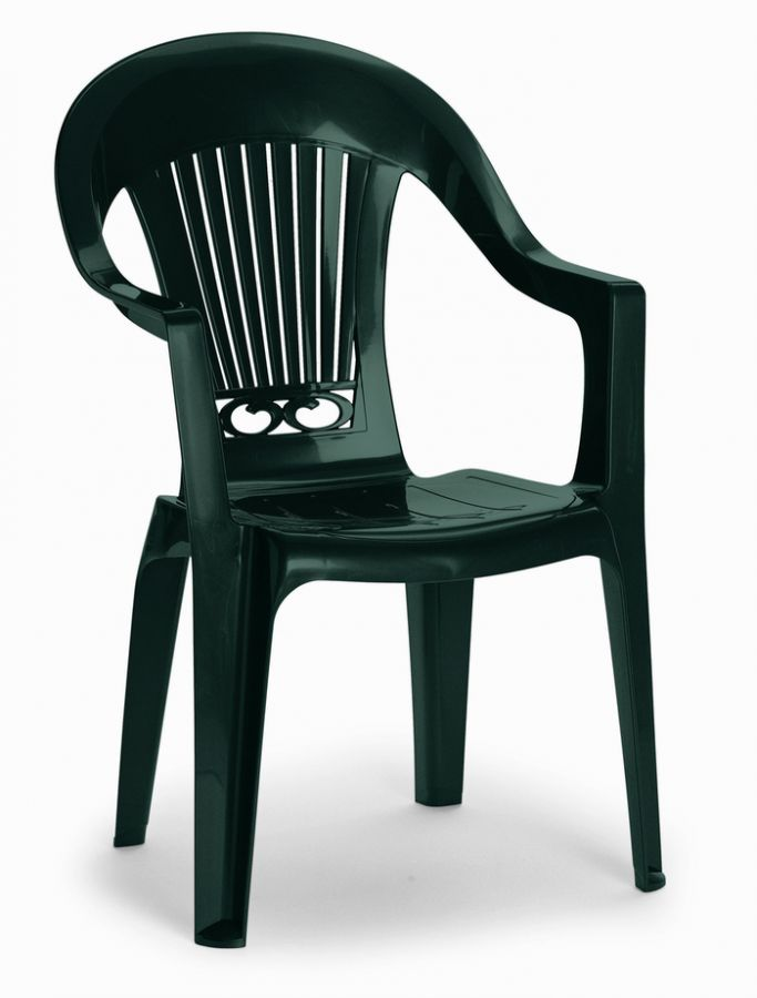 SCAB Four Seater Daytona Square Resin Dining Set in Forest Green with Iron Deco