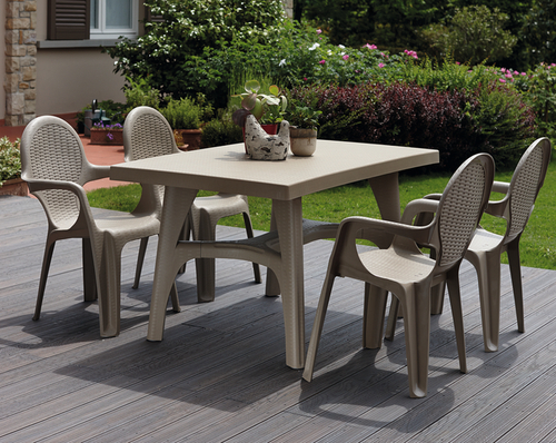 SCAB Four Seater Synthetic Rattan Dining Set in Dove Grey