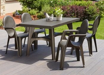 SCAB Four Seater Synthetic Rattan Dining Set in Bronze