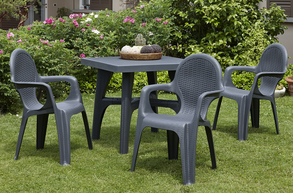 SCAB Four Seater Synthetic Rattan Dining Set in Anthracite Grey