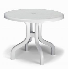 SCAB Four Seater Ribalto Round Resin Dining Set in White