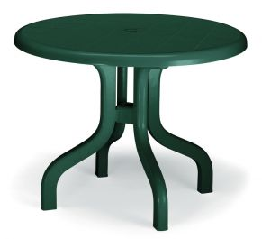 SCAB Four Seater Ribalto Round Resin Dining Set in Forest Green