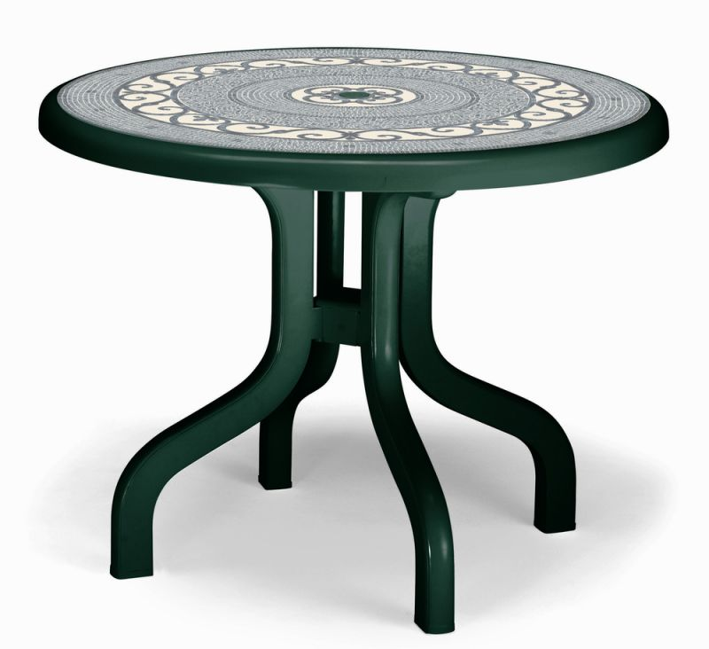 SCAB Four Seater Ribalto Round Resin Dining Set in Forest Green with Iron Deco