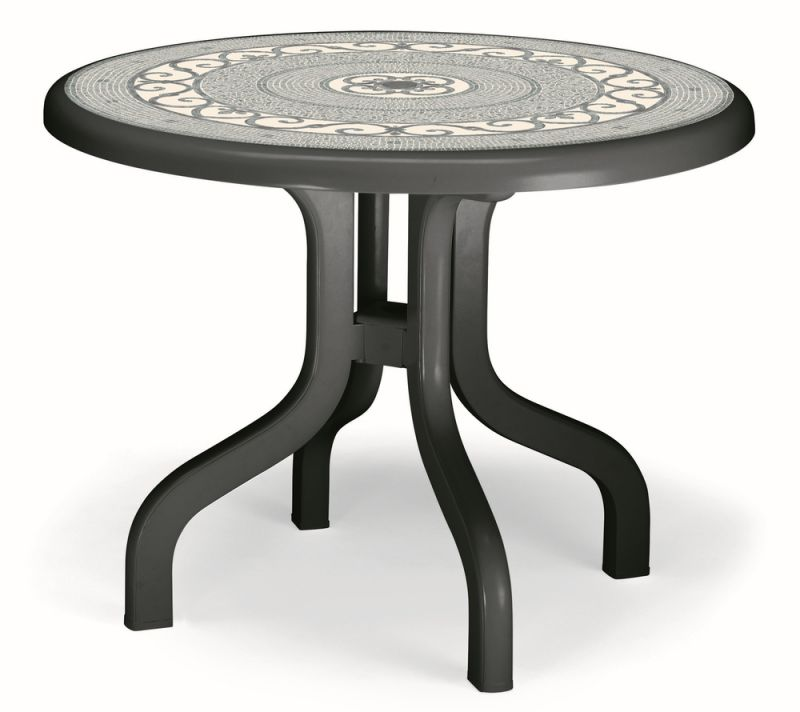 SCAB Four Seater Ribalto Round Resin Dining Set in Anthracite Grey with Iron Deco