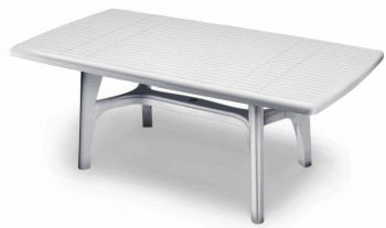 SCAB Six Seater President Rectangular Dining Set in White
