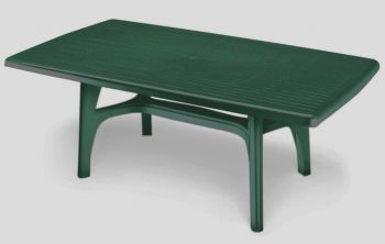 SCAB Six Seater President Rectangular Dining Set in Forest Green