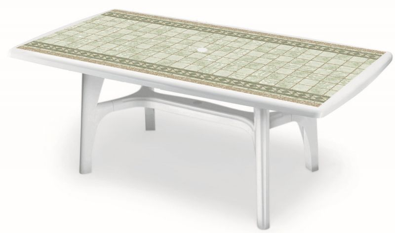 SCAB Six Seater President Rectangular Dining Set in White with Tile Deco