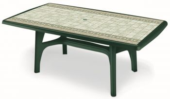 SCAB Six Seater President Rectangular Dining Set in Forest Green with Tile Deco