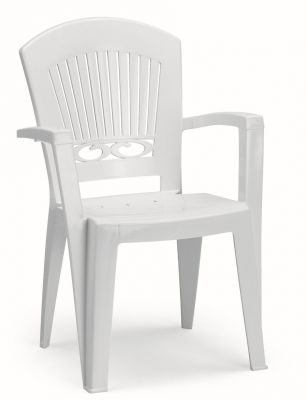 SCAB Six Seater Ovolone Resin Dining Set in White