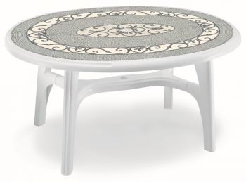 SCAB Six Seater Ovolone Resin Dining Set in White with Iron Deco