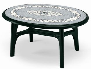 SCAB Six Seater Ovolone Resin Dining Set in Forest Green with Iron Deco