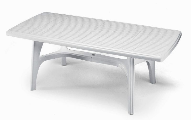 SCAB Eight Seater President Tris Resin Dining Set in White