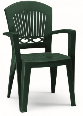 SCAB Eight Seater President Tris Resin Dining Set in Forest Green with Tile Deco