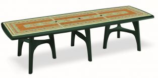 SCAB Ten Seater President Dining Set with Extension in Forest Green with Mosaic Deco