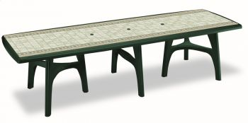SCAB Ten Seater President Dining Set with Extension in Forest Green with Tile Deco