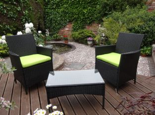 Rattan Companion Seat With Green Cushions