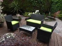 Rattan Sofa Set With Green Cushions