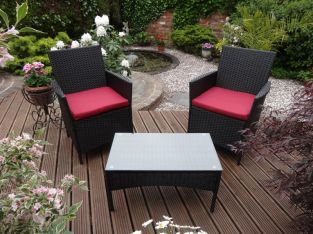 Rattan Companion Seat With Red Cushions