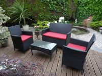 Rattan Sofa Set With Red Cushions