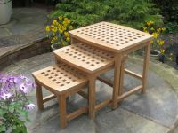 Teak Crystal Table Set