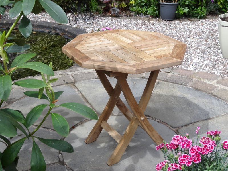 Teak Mini Oct Folding Table 50Cmx50Cm