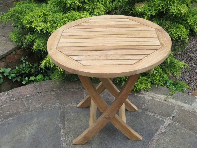 Teak Mini Round Folding Table 50Cm